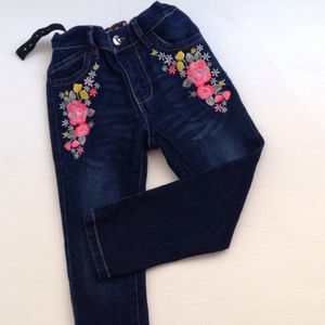 Little Girl's Embroidered Floral Jeans Size 3T EUC